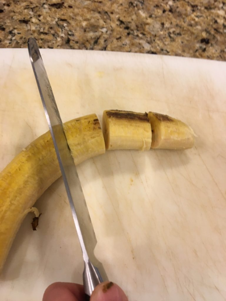 cutting up plantains